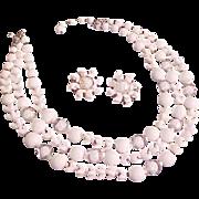 SALE MARVELOUS MARVELLA~ Signed Givre & Milk White Glass Demi~Necklace & Earrings