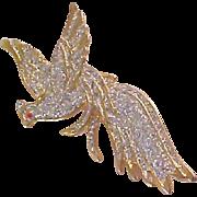 SALE Charming Pheasant Bird~Multi Glittered Stones Brooch
