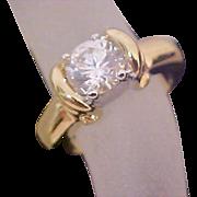 SALE Lavish Cubic Zirconia Gold Plate Ring~ Size 7 1/4~ 9mm