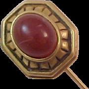 SALE Carnelian ART  Glass Cabochon & Antiqued Gold Plate Stick Pin by MONET