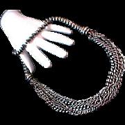 SALE Mid Century Heavy Dark Silver Plate Beads~Dangling Chains DRAPE BIB Necklace