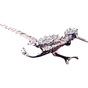 SALE Charming Simulated Marcasite Silver Plate ROADRUNNER Brooch
