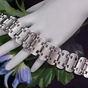 SALE MARBOUX ~ Elegant Silver rhodium Plate Wide Link BRACELET - Signed & Numbered MARCEL BOUC