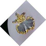 Striking Genuine ORCHID 24kt Gold Plate  Brooch