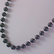Free Ship ~ Stunning Black Celluloid Speckled White 13 mm  Bead Necklace