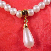 FREE SHIPPING - Simulated Pearl Necklace with Pearl Drop