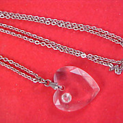Lucite Carved HEART & Diamante Pendant and Silver Tone Chain Necklace