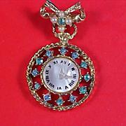 Aquamarine~Faux Pearl Dangle Watch Brooch