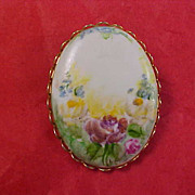 Charming Hand Painted Oval Floral Brooch