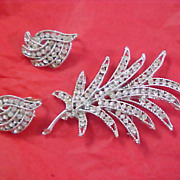 Old Hollywood - Pave Diamante Demi Parure - Brooch & Clip  Earrings in Silver Rhodium Plate