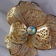 SALE Lacey Filigree Lightweight Gilt Gold Pansy - Aurora Borealis Brooch