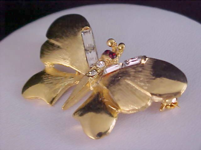 WHIMSICAL BUTTERFLY -  Gold Plate - Baguette Diamante & Ruby Rhinestone Brooch