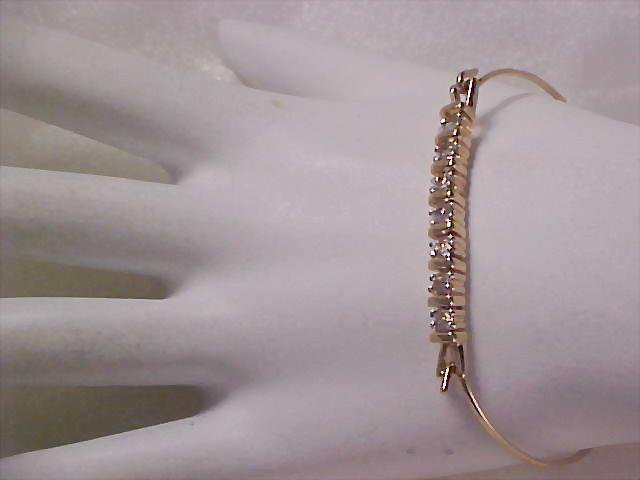 Unique Cubic Zirconia  Prong Set Paste Hinged Bangle Bracelet