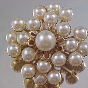 SALE Fabulous  Simulated Pale  Gray Pearl  & Gold Plate Brooch