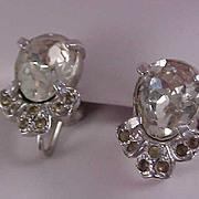 SALE Pear Cut Cubic Zirconia and Diamante Silver Rhodium Plate Screw Back Earrings