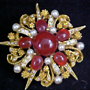 REDUCED ~Fabulous Designer ART ~  Glass Cabochons ~ Diamante& Simulated Pearl  Brooch