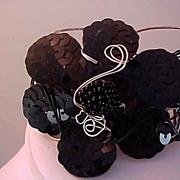 Lavish Black Sequin & Beads ~Silver & Black metal Cuff Bracelet