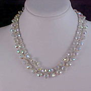 QUEENS Special  ~ Exquisite BEZEL SET CRYSTAL Two Strand Necklace - Silver Plate