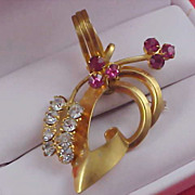 SALE Diamante & Pink Sapphire Rhinestone Gold Plate 1940's Brooch