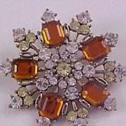 SALE Honey Amber & Diamante Emerald Cut Rhinestone Brooch