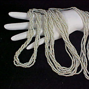 SALE LAVISH - Four Strands ICE BLUE Simulated Seed Pearls TORSADE 60 Inch Necklace