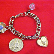 Mid Century LUCKY CHARM BRACELET - Crafted in Gold Plate - Fabulous Charms