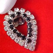 ART DECO - Diamante & Jet Rhinestones - Pear Shape Old Purse or Shoe Clip