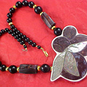 Charming ABALONE & Black & Gold Beads Ornate Necklace