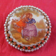 SALE Porcelain COURTING SCENE & Simulated Seed Pearl Brooch/Pendant