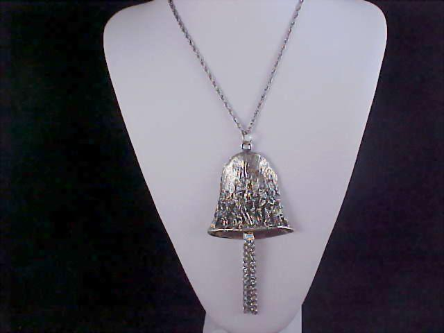 """SALE~Massive SILVER PLATE  """"BELL"""" Medallion & Chain  Necklace"""
