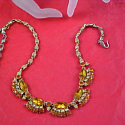 SALE Pale and Honey Amber Rhinestone Necklace/Choker