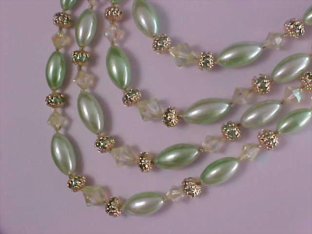 Fabulous 1940's  Mint Green Four Strand Simulated Pearls & Crystals Necklace - Signed Japan