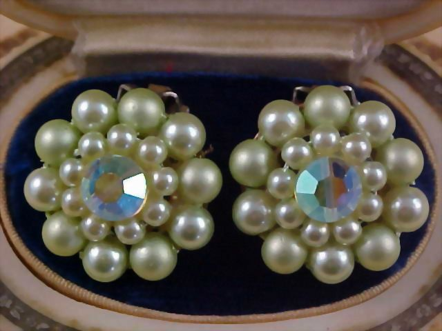 Mint Green Simulated Hand Wired Pearls & Aurora Borealis Crystal Clip Earrings