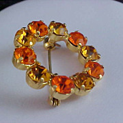 SALE Honey Amber & Cognac Rhinestone Circular Brooch/Pin