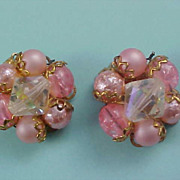SALE Dramatic Pink Crystals & Simulated Pink Pearl Cluster Hand Wired Earrings