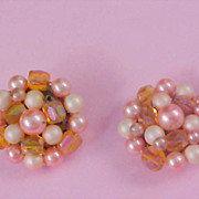 SALE 1940's World War II - Simulated Pink Pearl & Amber Lucite Cluster Clip Earrings - JAPAN