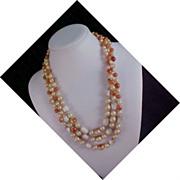 UNIQUE - Japan 3-Strand Phenomenal Bead Necklace - CIRCA 1940