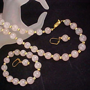 SALE Showstopper Genuine Rose Pink Quartz ~ Full Parure - Necklace - Bracelet & Lever Back