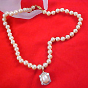 SALE Hand Knotted Simulated Glass Pearl & Diamante Drop Necklace