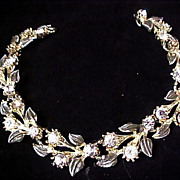 Diamante & Gray Enamel ~ Silver Plate LINK Bracelet.