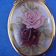 "SALE Lavish Hand Painted Roses Medallion~UNDER GLASS~ & 24"" Chain"