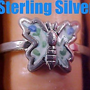 Vintage Estate Blue BUTTERFLY STERLING Silver  Guilloche  Ring - Size 6