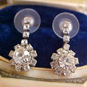 SALE ART DECO Diamante Chatons Dangle Post Earrings
