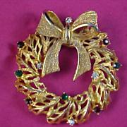 SALE TANCER II -  BOOK Piece Mid Century Rhinestone  Swivel Bow Gold Plate Christmas Wreath Br