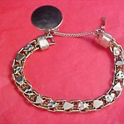 SALE Heavy Gold Plate Charm Bracelet - Charm & Safety Chain