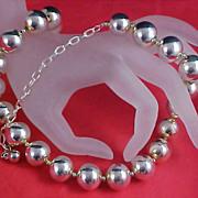 SALE Massive Silver Plate Beads PREMIER DESIGNS Signed PD - Choker/Necklace