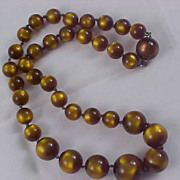 SALE 1930's Amazing TIGERS EYE Graduated MOONGLOW Bead Necklace
