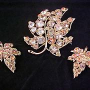 COGNAC~WATERMELON~AMBER Bezel Rhinestone Brooch & Clip Earrings - Signed BSK