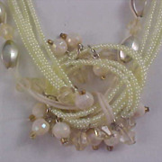 Pale Amber Lucite  Seed Bead Torsade Demi Parure - Necklace & Earrings