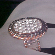 Free Ship~Pave Diamante Ornate Expandable Gold & Silver Plate Ring